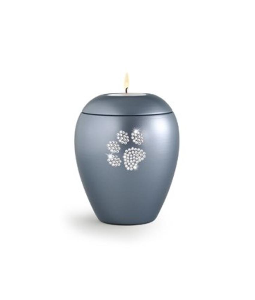 Dierenurn grijs paarlemoer swarovski pootafdruk met licht klein - keramiek