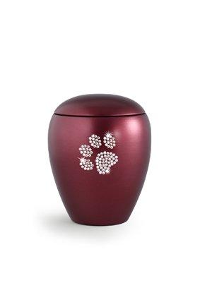 Dierenurn wijnrode paarlemoer swarovski pootafdruk klein -keramiek