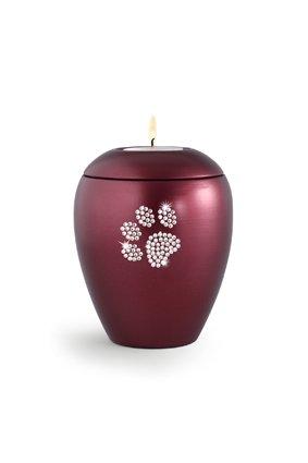 Dierenurn wijnrode paarlemoer swarovski pootafdruk met licht klein - keramiek