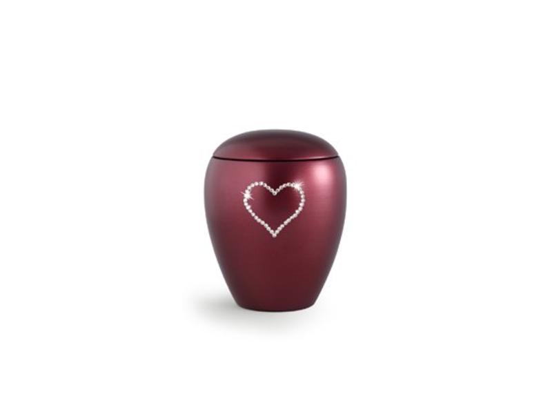 Dierenurn wijnrode paarlemoer swarovski hart klein - keramiek