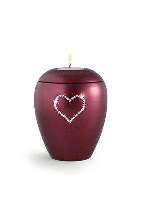 Dierenurn wijnrode paarlemoer swarovski hart met licht klein - keramiek