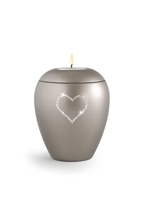 Dierenurn fumé paarlemoer swarovski hart met licht klein - keramiek