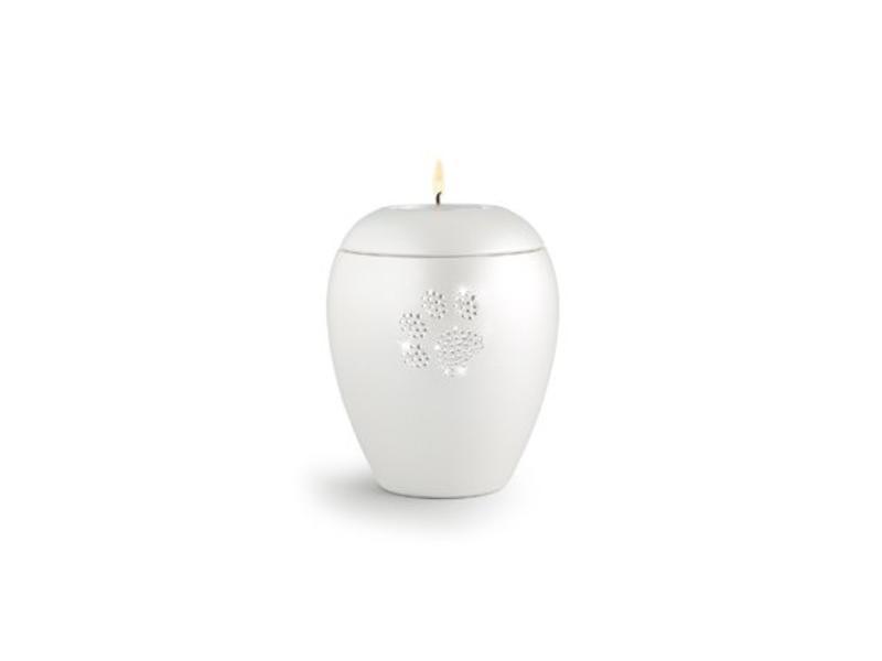 Dierenurn paarlemoer swarovski pootafdruk met licht klein - keramiek