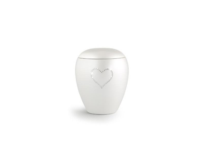 Dierenurn paarlemoer swarovski hart klein - keramiek