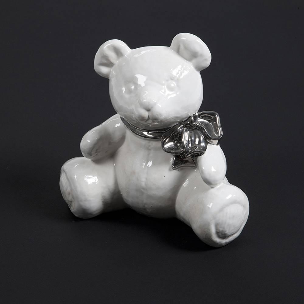 Kinder urn beer met strik wit - keramiek