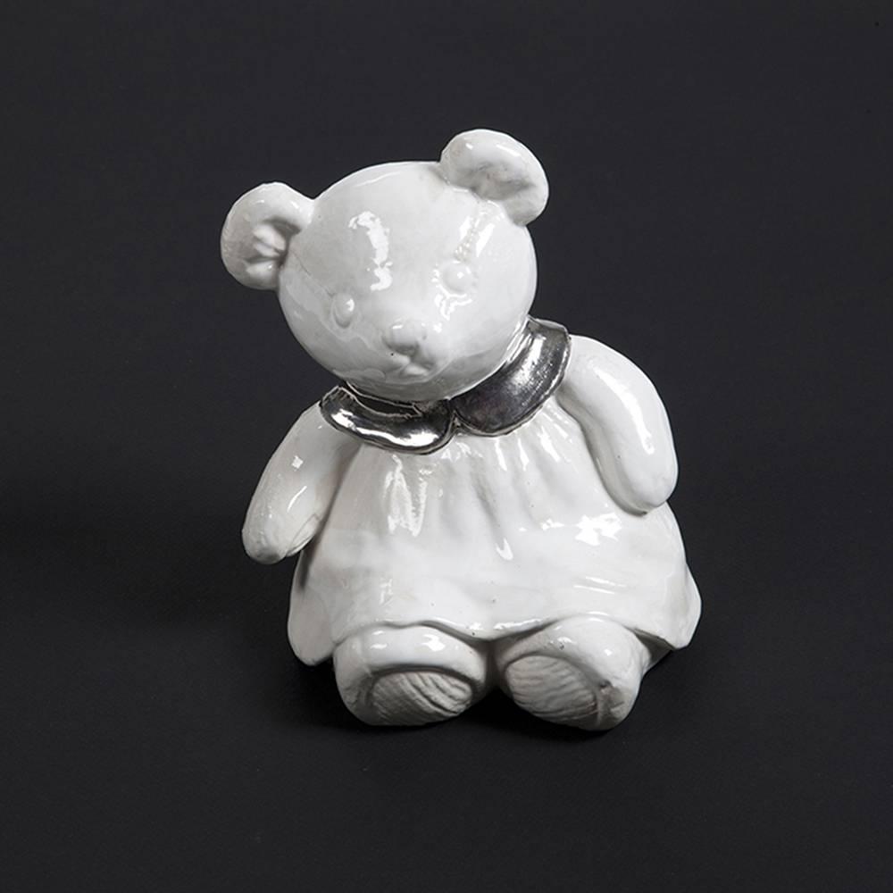 Kinder urn meisjes teddy wit - keramiek