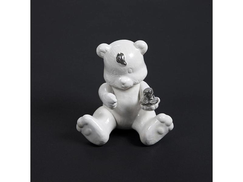 Kinder urn teddy met kaars - keramiek