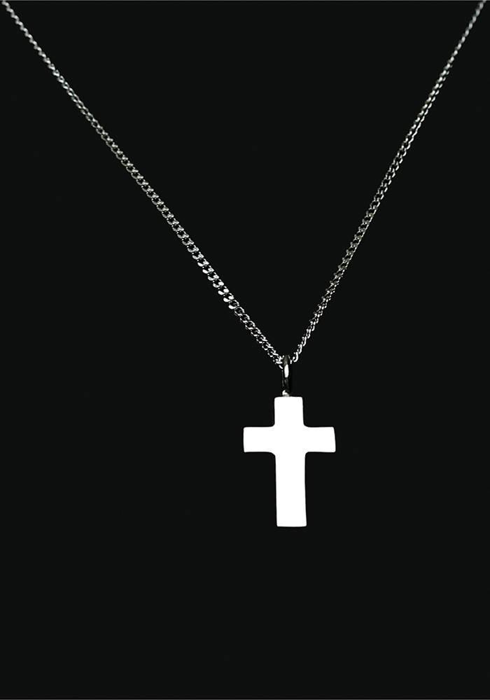 Ascollier kruis incl. ketting 50 cm - zilver