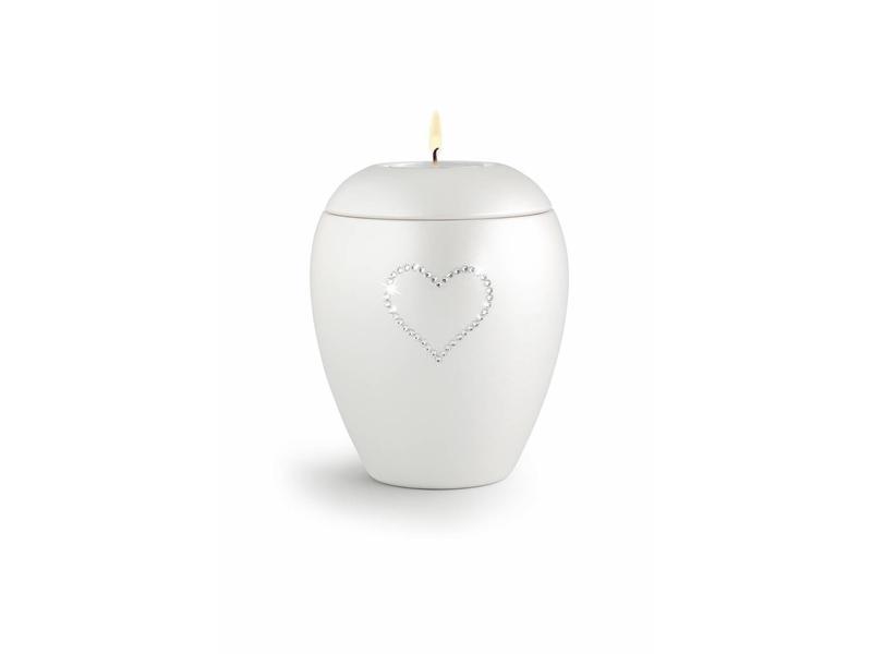 Dierenurn paarlemoer swarovski hart met licht medium - keramiek