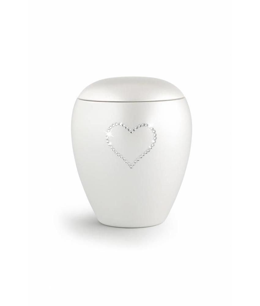 Dierenurn met swarovski hart medium - keramiek