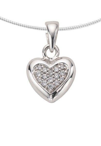 Ashanger hart klein - zilver met zirkonia