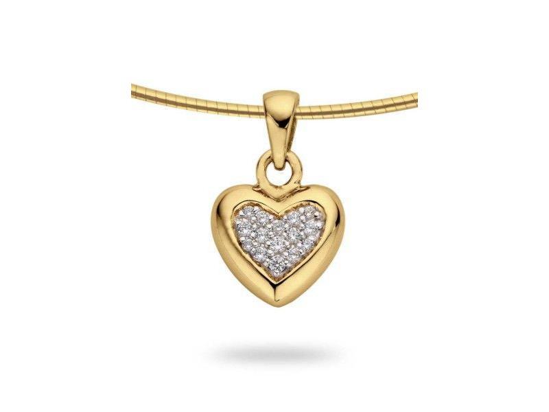 Ashanger hart klein - goud met diamant