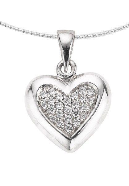 Ashanger hart medium - zilver met zirkonia