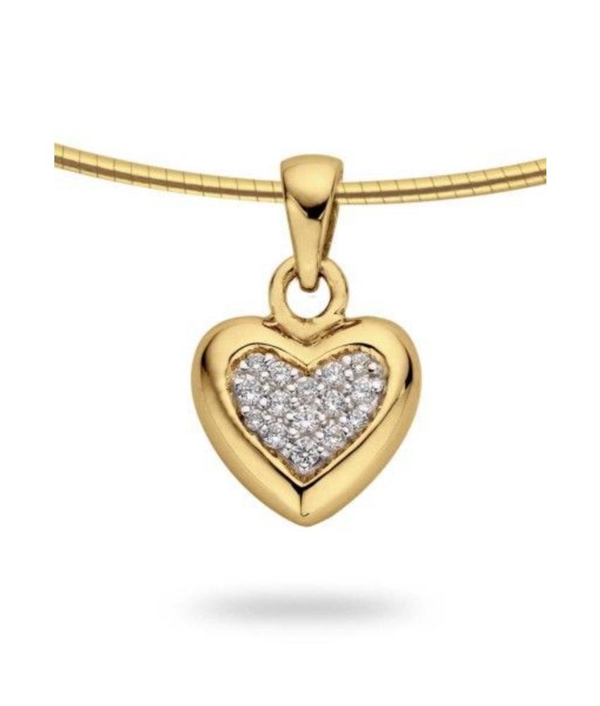 Ashanger hart medium - goud met diamant