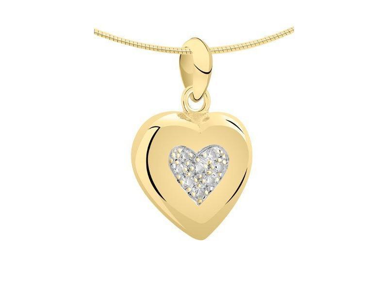 Ashanger hart groot - goud met diamant