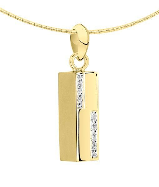 Ashanger asbus vierkant - goud met diamant