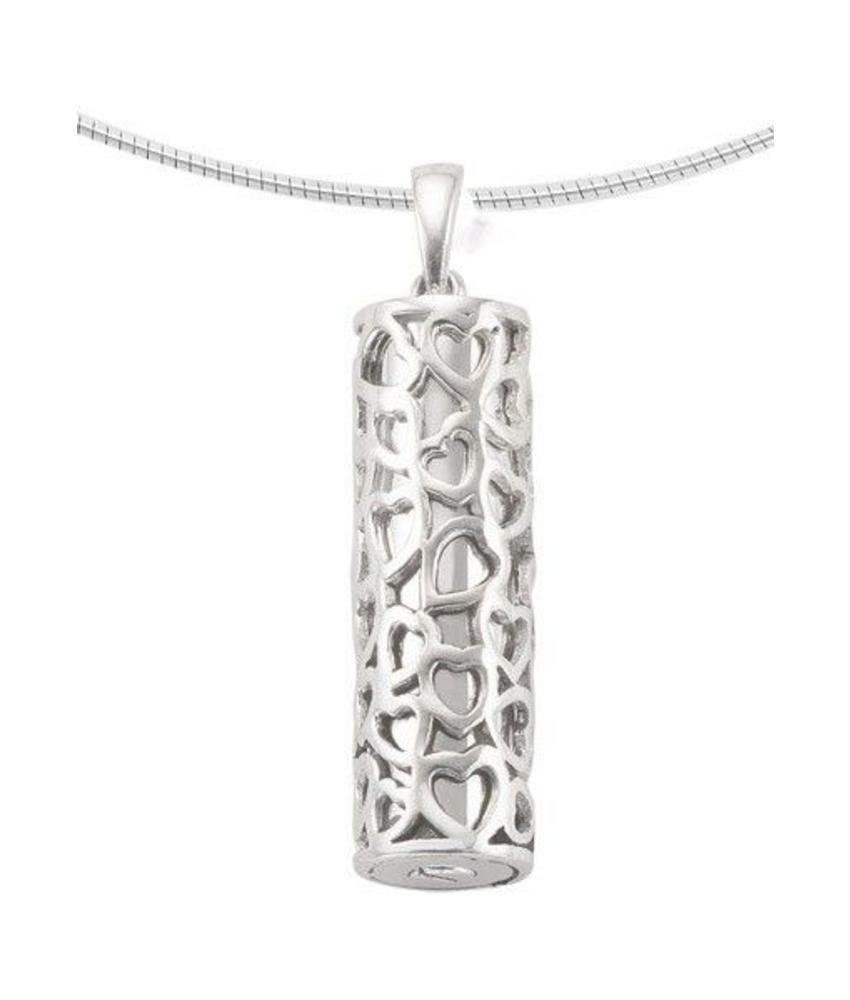 Ashanger asbus met hartjes - zilver