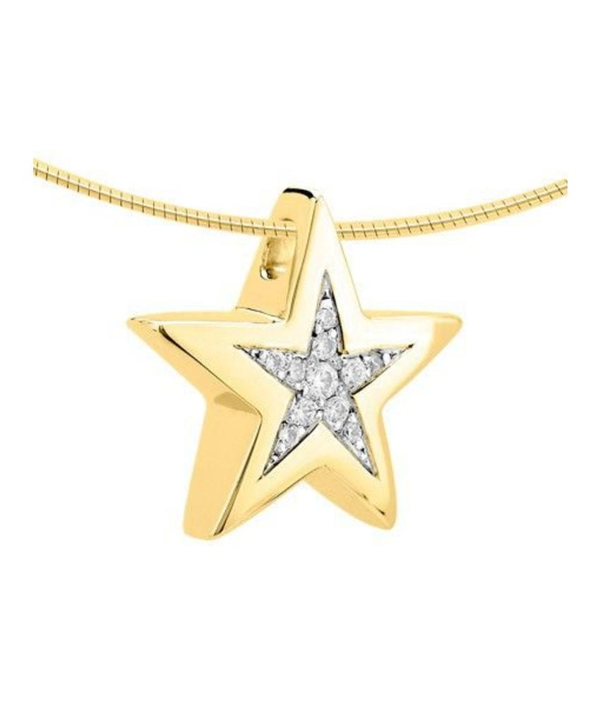 Ashanger ster - goud met diamant