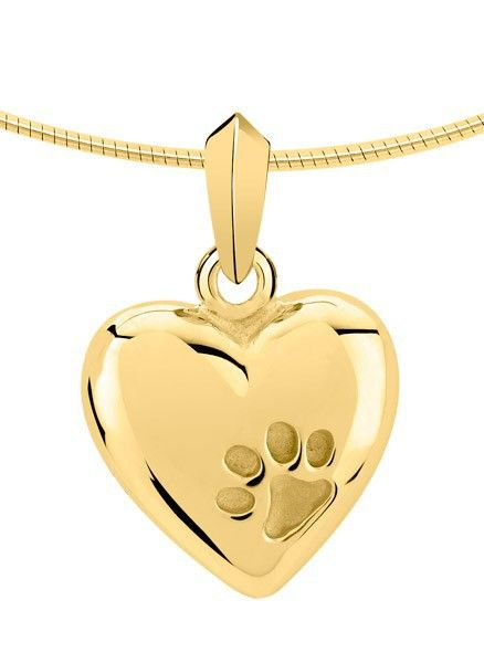 Ashanger hart met pootafdruk - goud