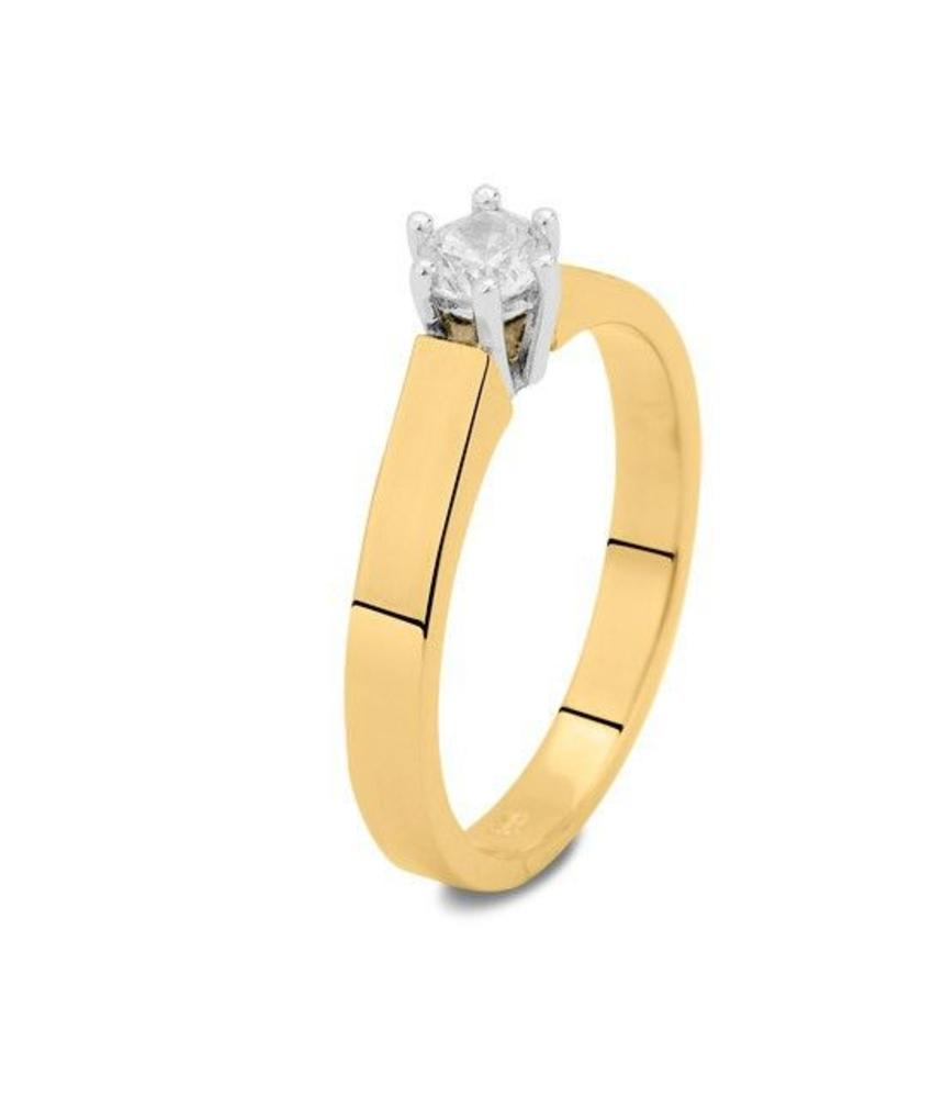 Asring dames traditioneel bicolour - goud met diamant 0.10 crt