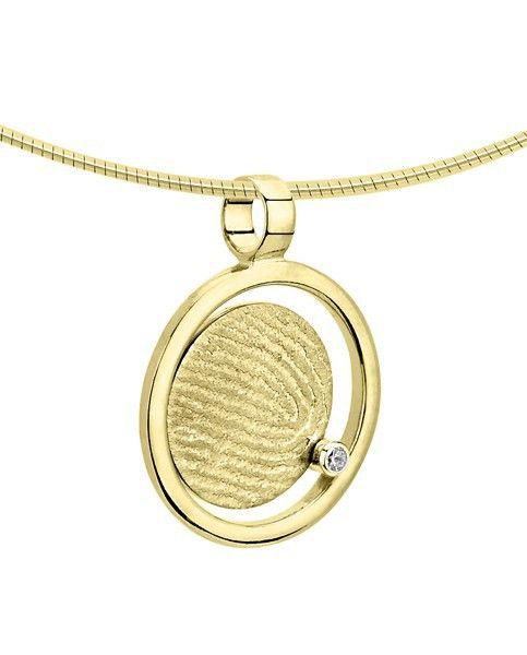 Vingerafdruk hanger rond in cirkel - goud en diamant