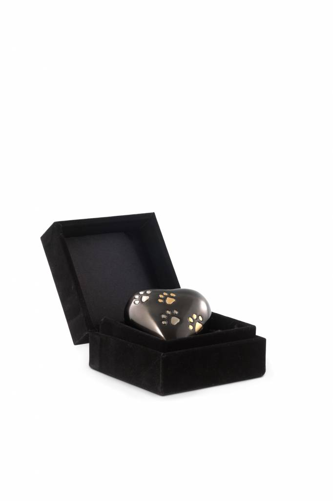 Dieren urn hart gedenk met 2-kleurige pootafdruk - messing