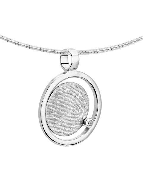 Vingerafdruk hanger rond in cirkel - witgoud en diamant