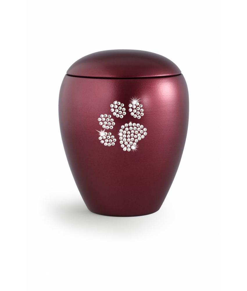 Dierenurn wijnrood met swarovski pootafdruk groot - keramiek