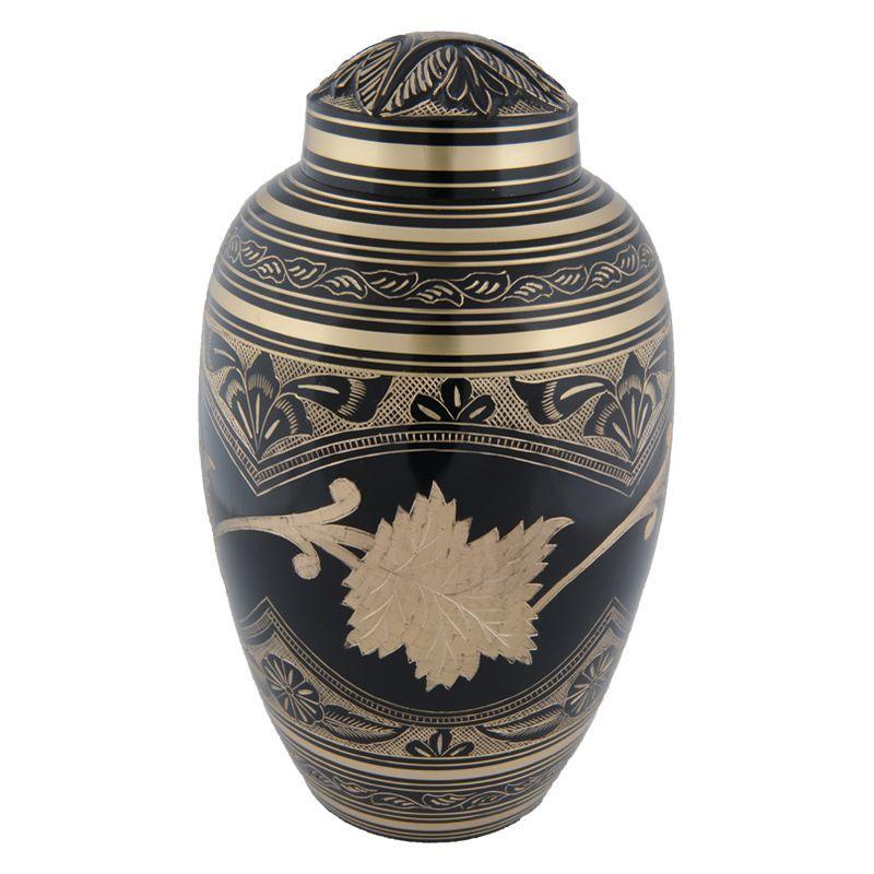 Zwarte toledo urn groot - messing