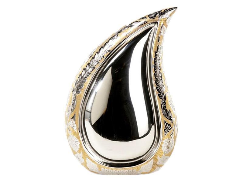Teardrop urn groot zilver met goud - messing