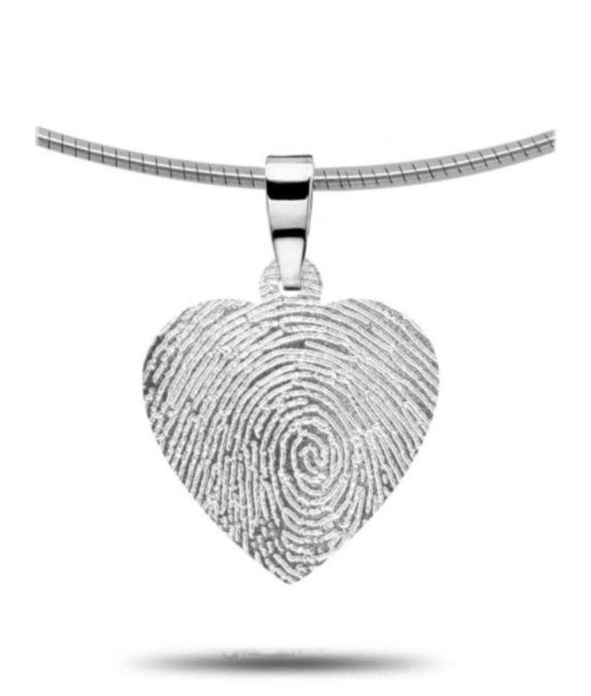 Vingerafdruk hanger hart - zilver