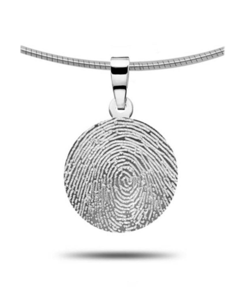 Vingerafdruk hanger rond - zilver