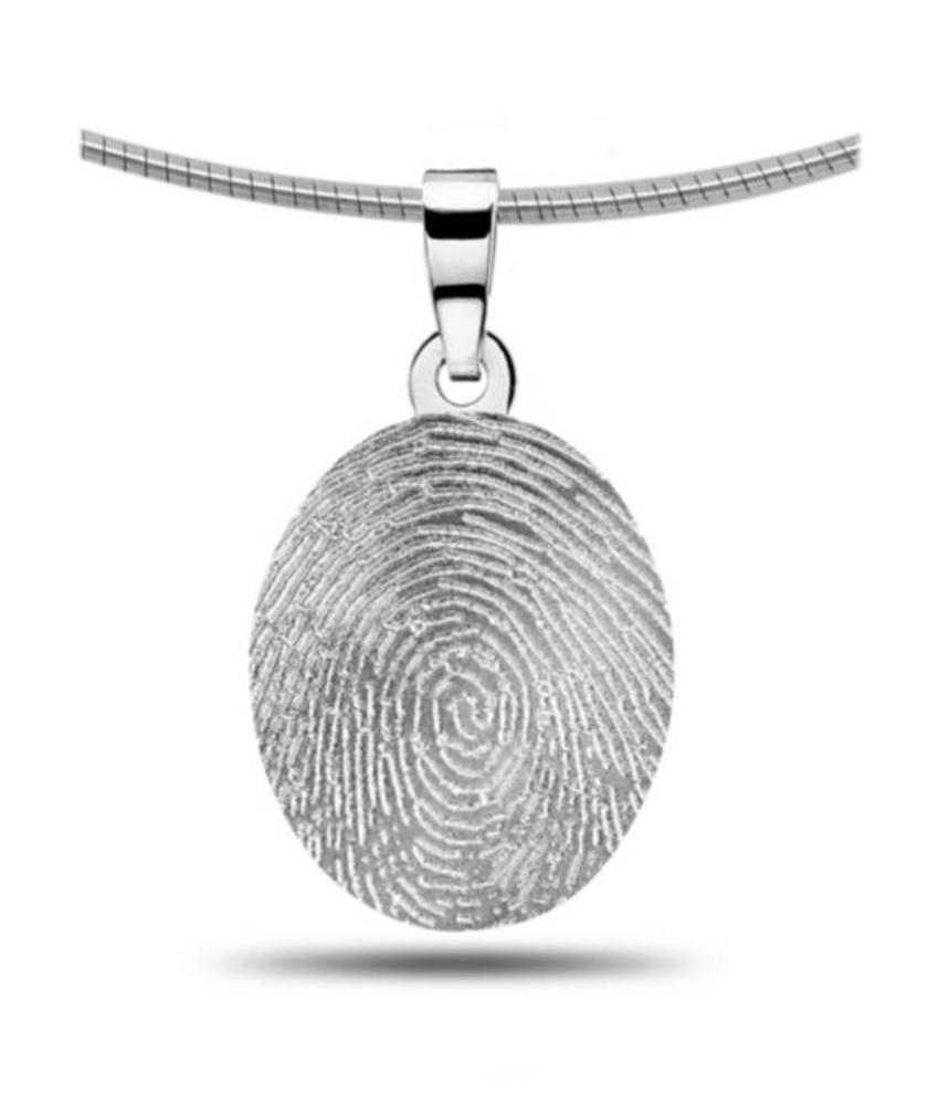 Vingerafdruk hanger ovaal - zilver