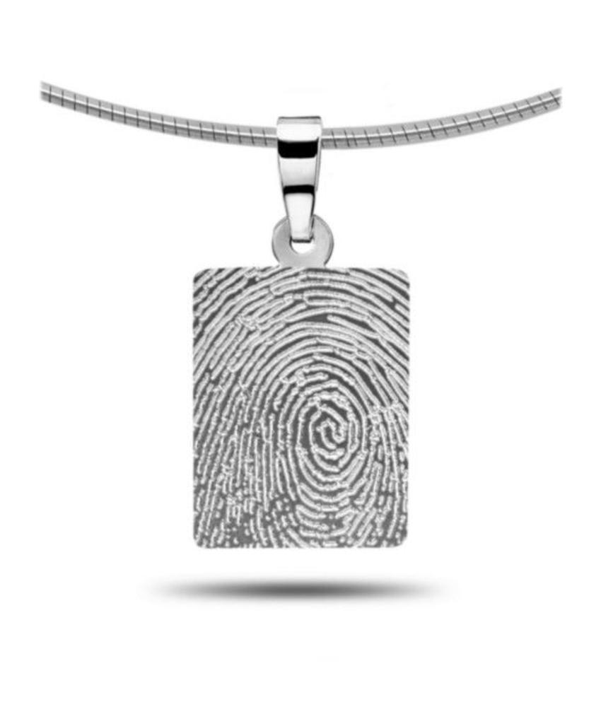 Vingerafdruk hanger rechthoek - zilver