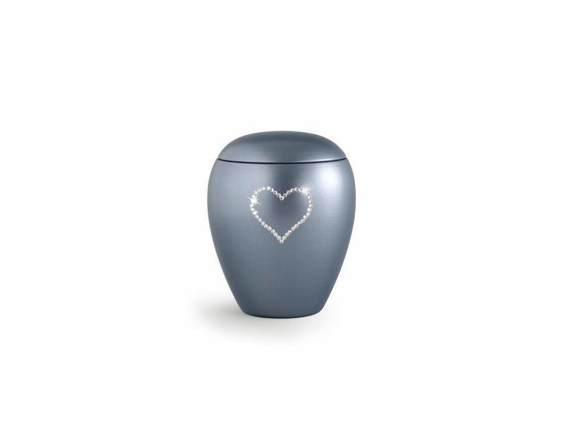 Dierenurn grijs paarlemoer swarovski hart klein - keramiek