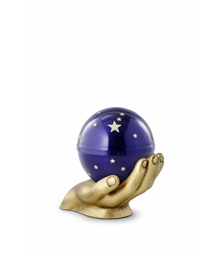 Kinder mini urn gedragen sterrenhemel blauw - messing