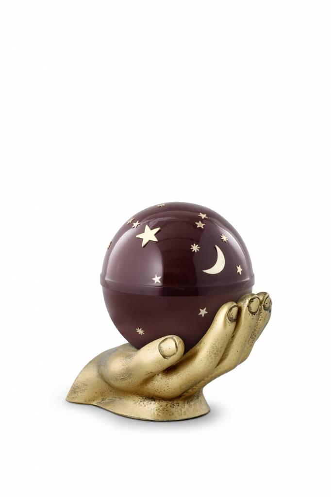 kinder mini urn gedragen sterrenhemel bordeaux - messing