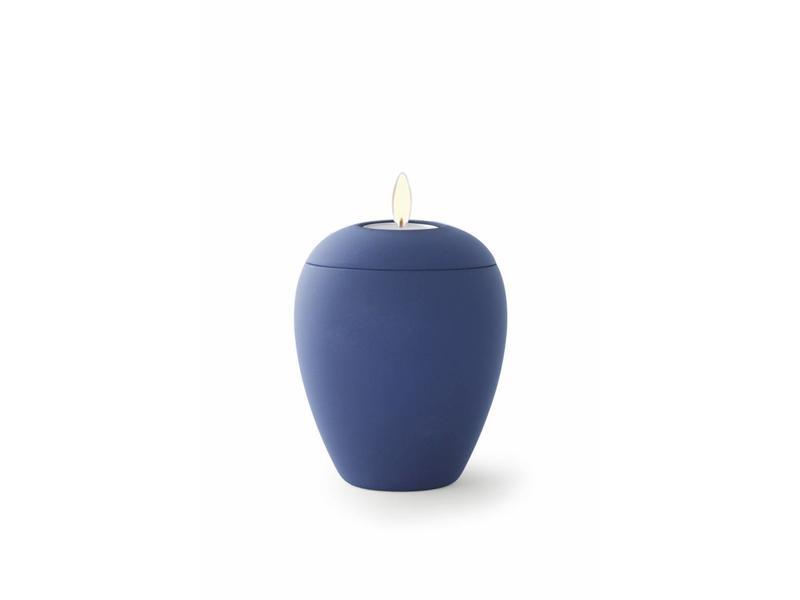 Mini urn sienna marine blauw met lichtje- keramiek