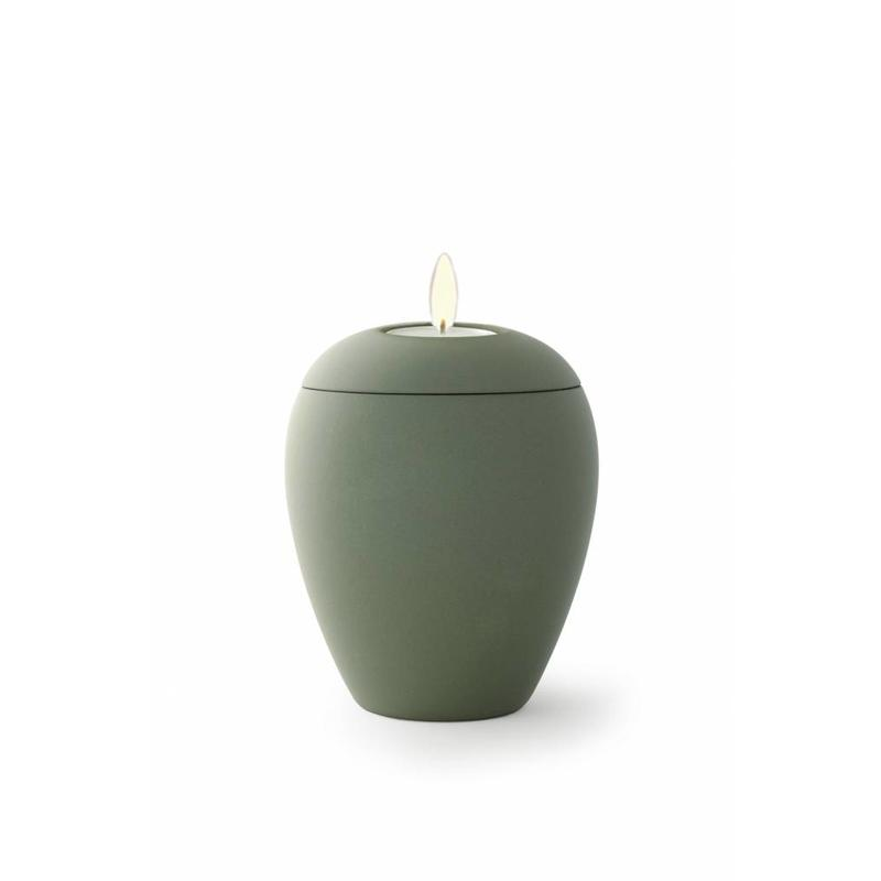 Mini urn sienna olijfgroen met lichtje - keramiek