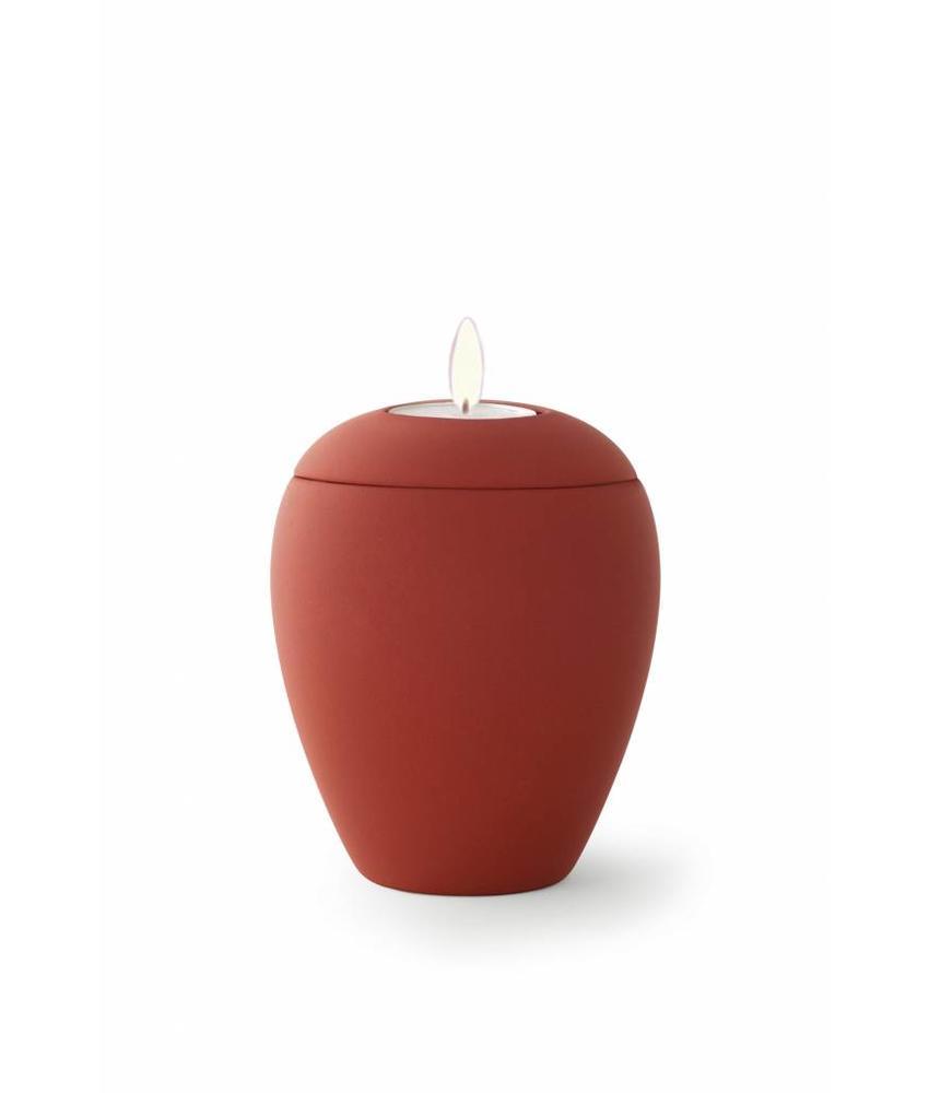 Mini urn sienna robijn met lichtje - keramiek