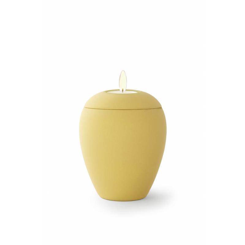 Mini urn sienna okergeel met lichtje - keramiek