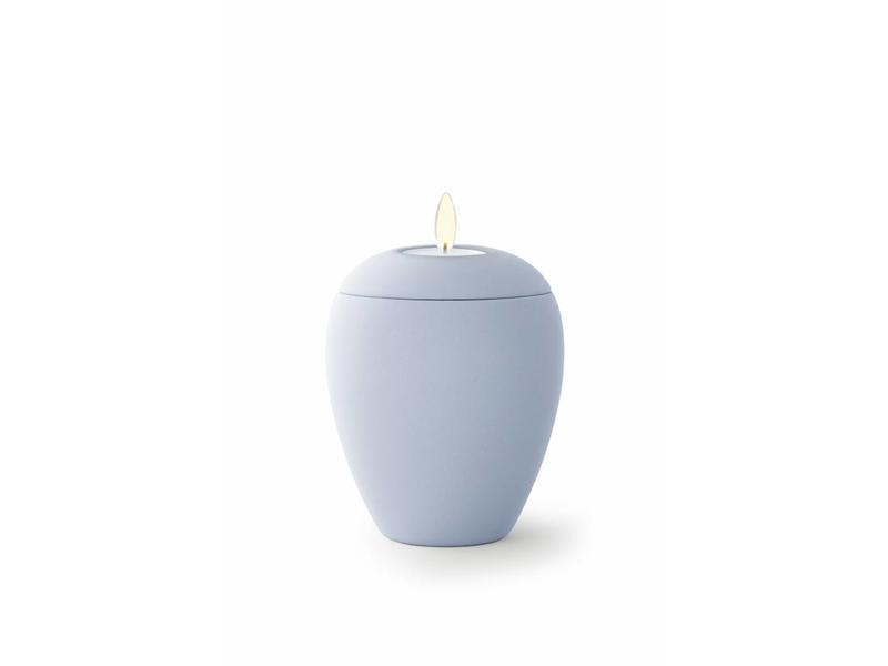 Mini urn sienna licht blauw met lichtje - keramiek