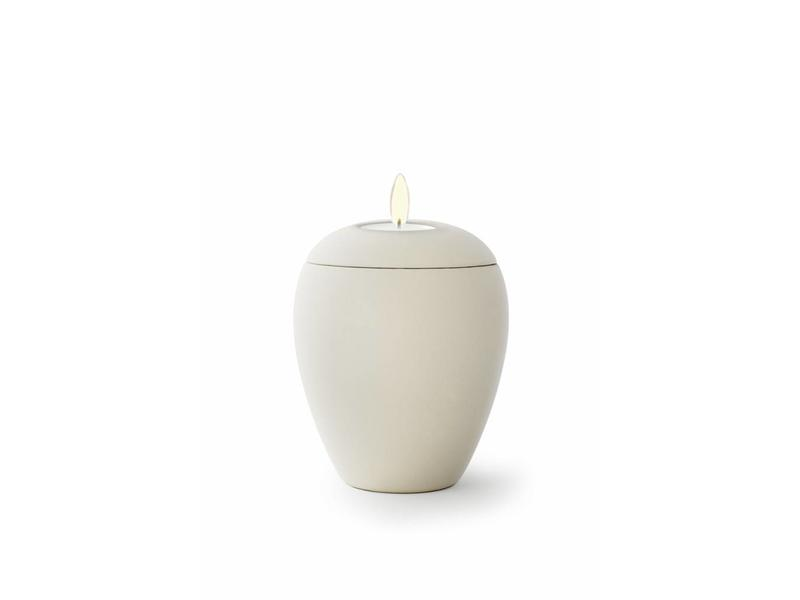 Mini urn sienna creme met lichtje - keramiek