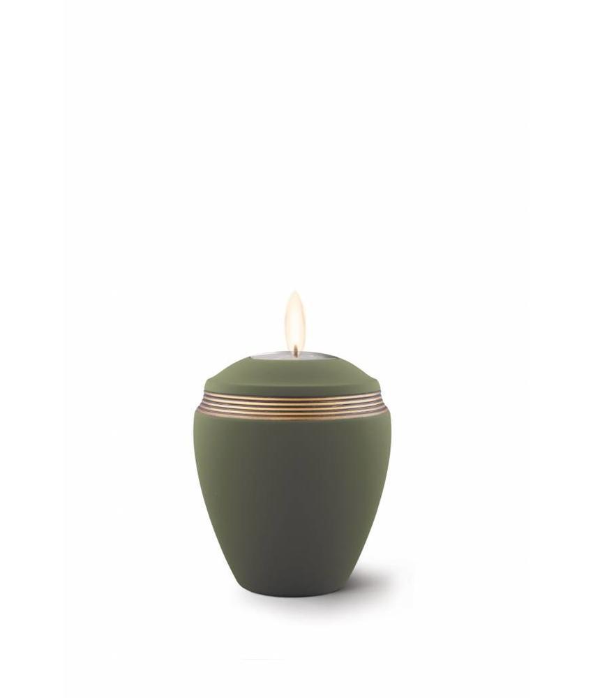 Mini urn helena palmgroen met herdenkingslichtje - keramiek
