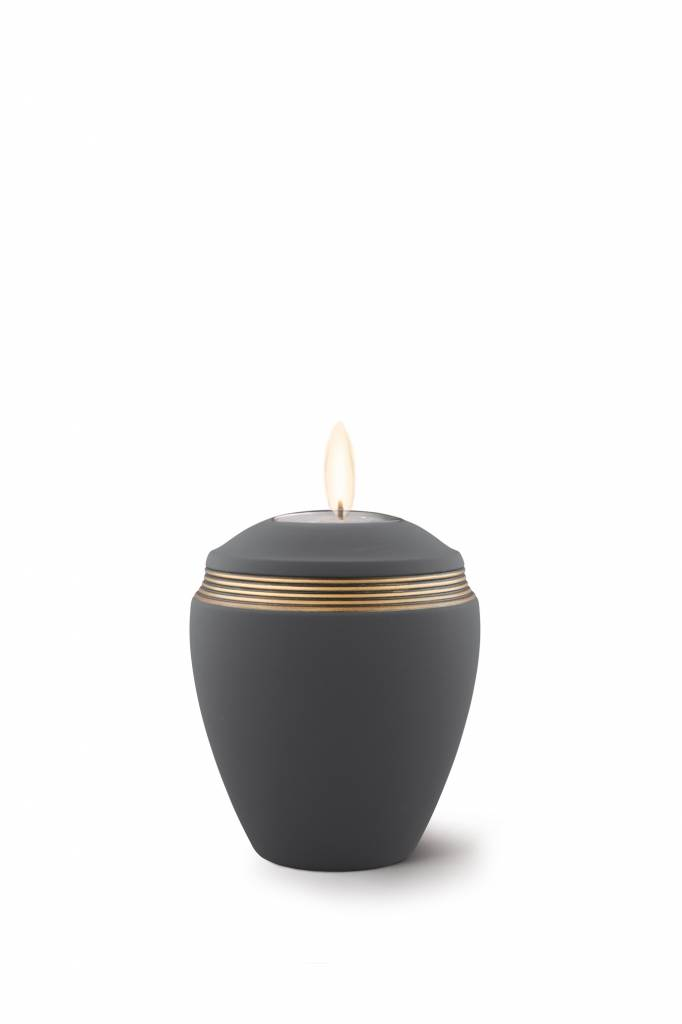 Mini urn helena zwart met herdenkingslichtje- keramiek