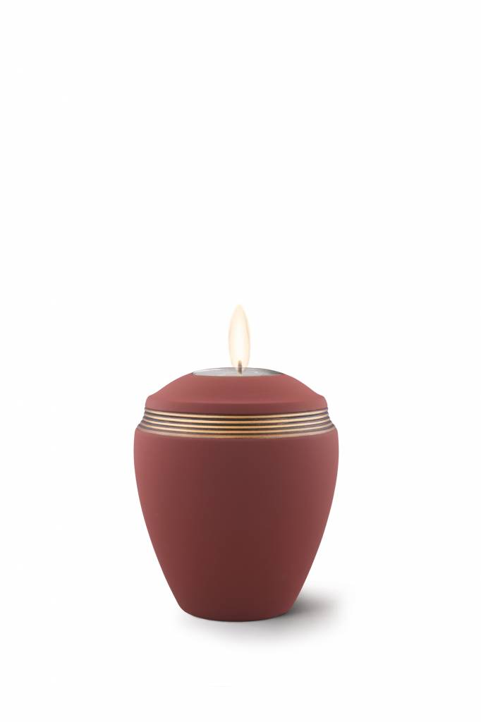 Mini urn helena rood bruin met herdenkingslichtje- keramiek