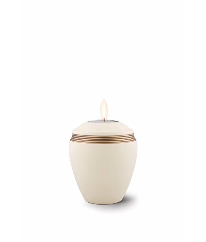 Mini urn helena creme met herdenkingslichtje- keramiek
