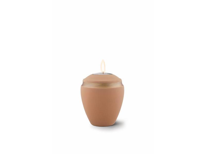 Mini urn helena zandkleur met herdenkingslichtje- keramiek