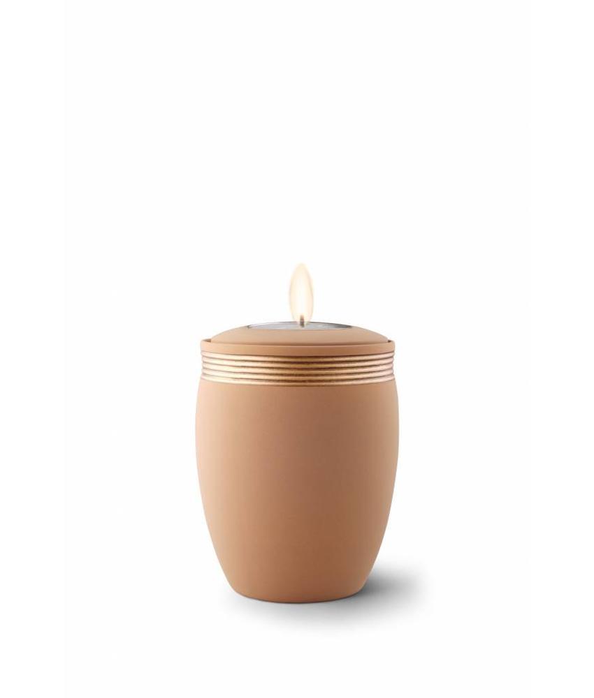 Mini urn cleo zandkleur met herdenkingslichtje - keramiek
