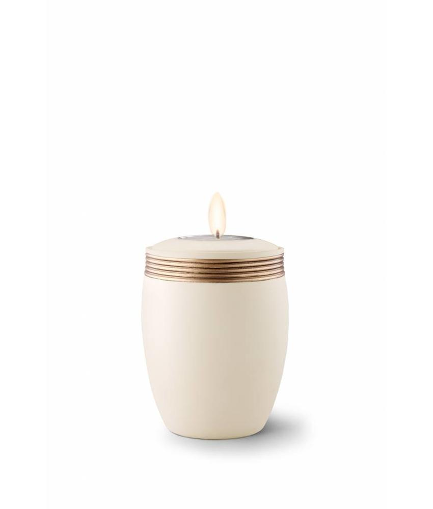 Mini urn cleo creme met herdenkingslichtje - keramiek